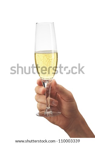 Man's hand with glass of champagne isolated on white