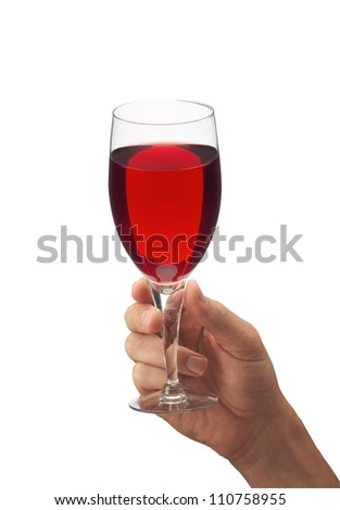 Man's hand with glass of red wine isolated on white background