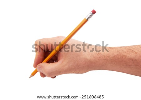 man's hand with the pencil isolated on white background  - stock photo