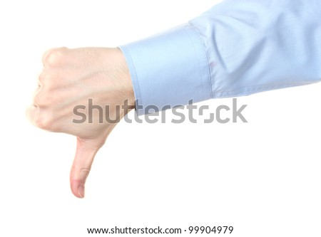 man's hand with thumb down isolated on white - stock photo