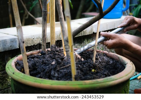 man's hand with tool prepare soil for agriculture - stock photo