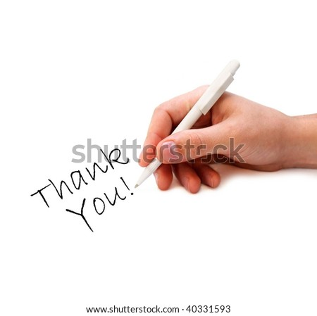 Man's hand writing - stock photo