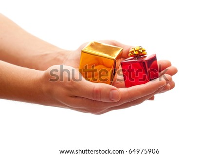 Man's hands holding a gifts. Isolated on white background - stock photo