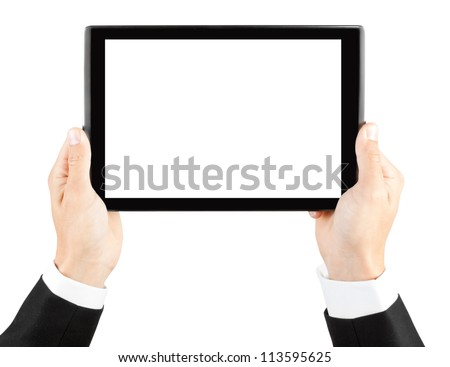 Man's hands holding a tablet  - stock photo