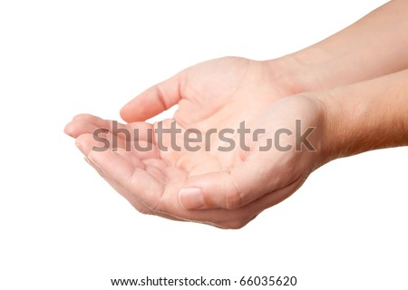 Man's hands, holding some invisible thing, isolated on white  background, a place to put in some object of yours - stock photo