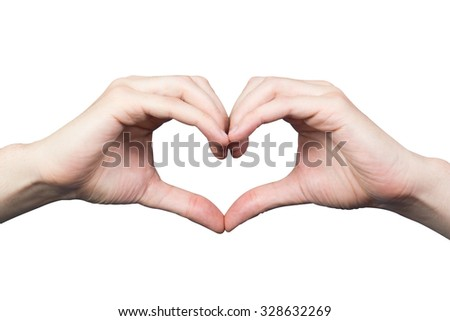 Man's hands in the shape of a heart isolated on white background
