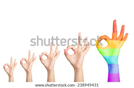 Man's hands isolated on white, one hand painted as rainbow flag