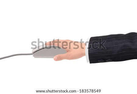 man's hands pushing keys of pc mouse, on white background close-up