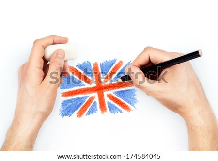 Man's hands with pencil draws flag of United Kingdom of Great Britan on white background - stock photo