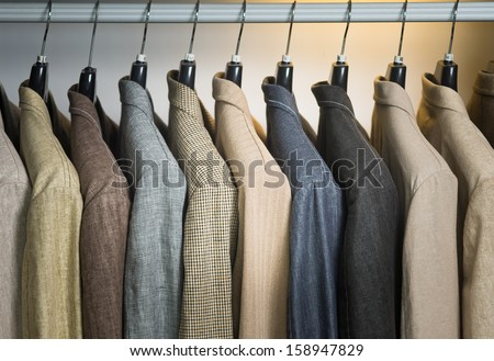 man's jackets. man's jackets on hangers