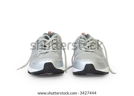 man's jogging shoe isolated on white (contains clipping path) - stock photo