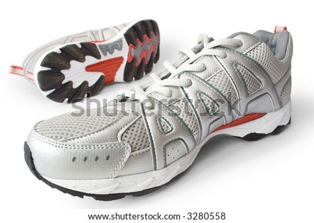 man's jogging shoes isolated on white
