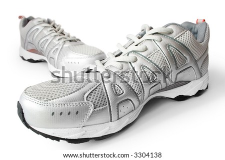 man's jogging shoes isolated on white - stock photo