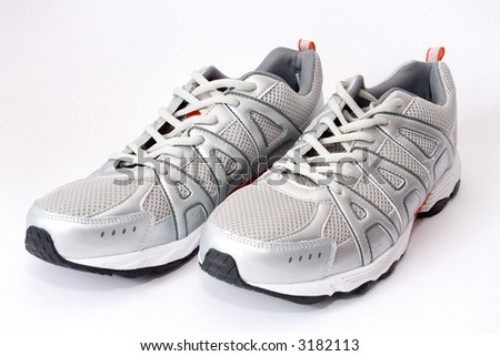 man's jogging shoes on white - stock photo