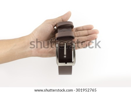 Man's leather belt isolated on white - stock photo