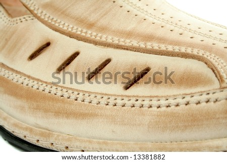 Man's leather shoes of brown color, (look similar images in my portfolio) - stock photo