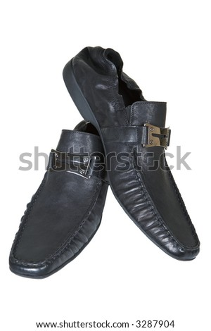 Man's low shoes on a white background - stock photo