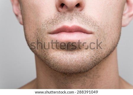 Man's mouth - stock photo