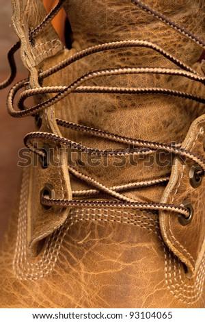 man's new shoes, closeup - stock photo