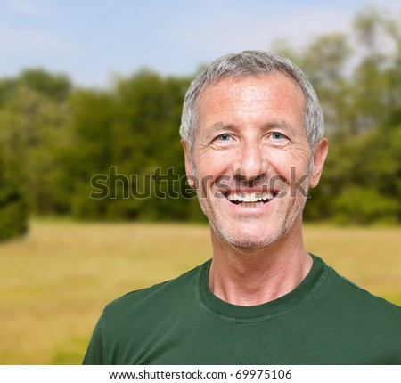 man's portrait doing outdoor activity - stock photo