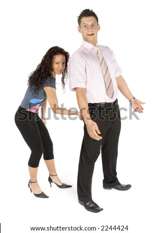 man's seduction - bottom  pinch (white background) - stock photo