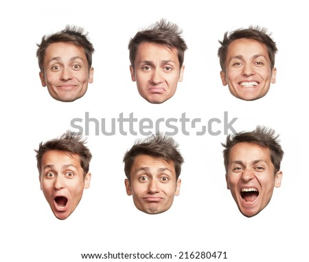 Man's six big heads and different emotions, isolated
