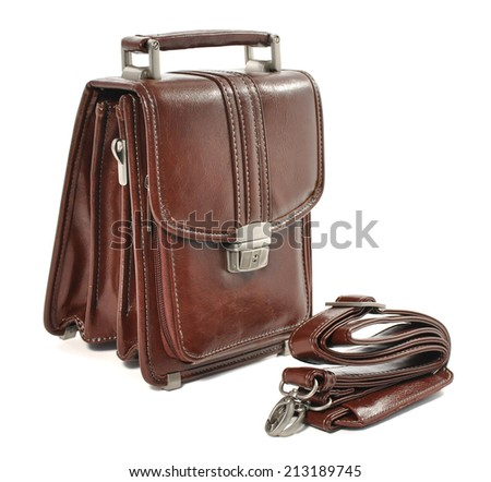 Man's small brown leather bag over white - stock photo
