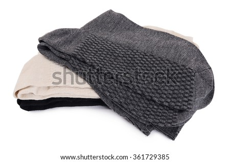 Man's socks isolated on white a background - stock photo