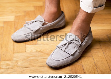 Man's style, moccasins shoes - stock photo