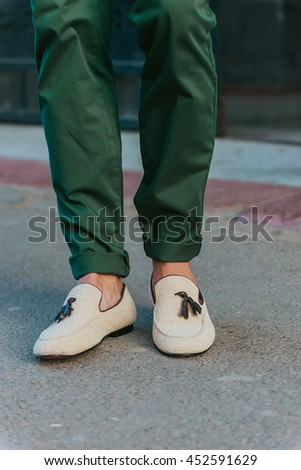 Man's style, moccasins shoes with green pants