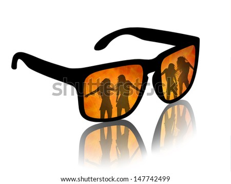 man's sun glasses with a reflection of hot dancing girls on a fire background - stock photo