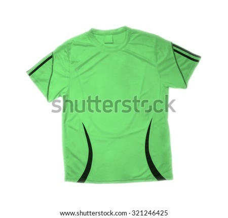 man's t-shirt in green and black colors isolated on white background. Sport Uniform for football players  - stock photo
