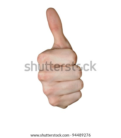 Man's thumb isolated on white