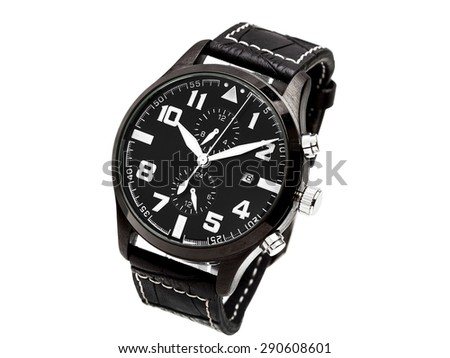 Man's watch of black color with the black dial and white shooters, on a white background. - stock photo