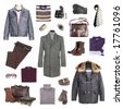 Man's winter clothes on a white background - stock photo