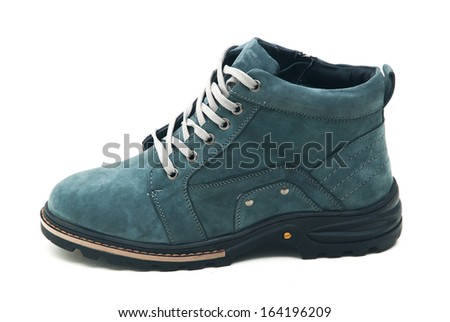 Man's winter shoes isolated on white background.