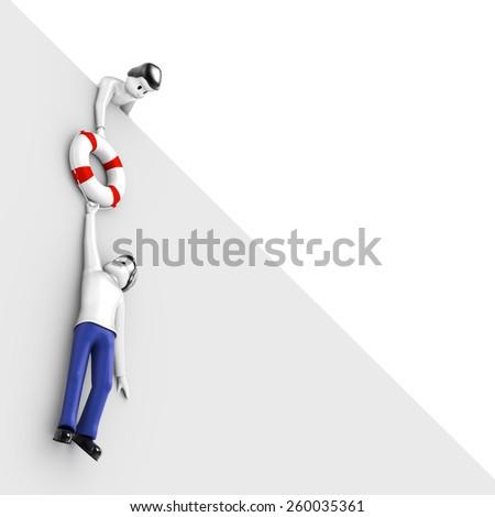 Man saves another man - stock photo
