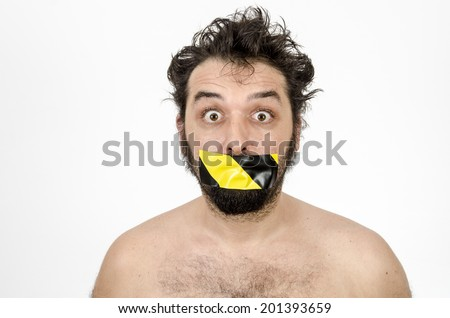 Man Scared And Shocked With Tape Over His Mouth - Isolated On White / Man Scared And Shocked - stock photo