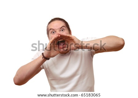 man screaming - stock photo