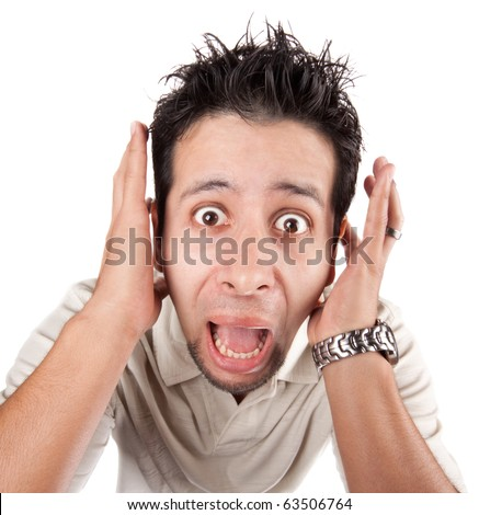 Man screaming at the camera, close up head and shoulders - stock photo