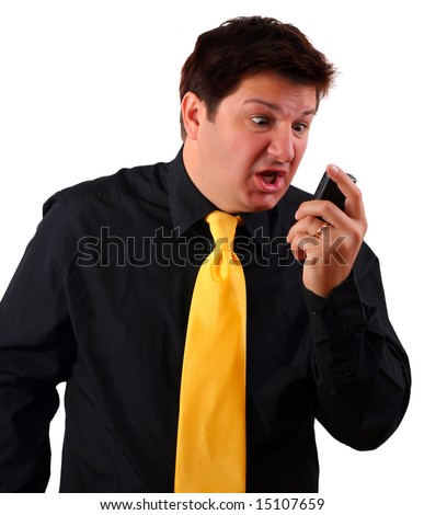 Man screaming during a call on his cell phone (using 3G video call or reading SMS and getting upset) - stock photo