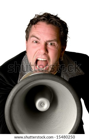 Man screaming with megaphone isolated on white background