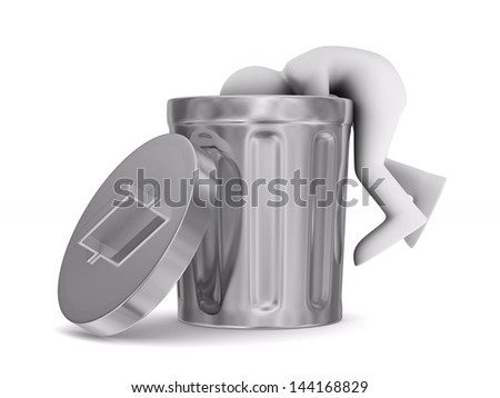 man searching in garbage container. Isolated 3D image - stock photo