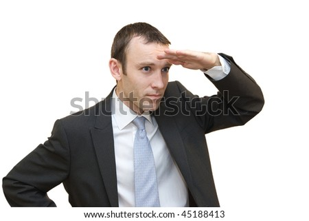 Man searching on white background - stock photo