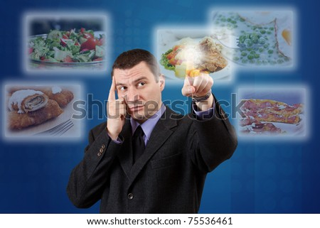 Man selecting images streaming from the deep - stock photo