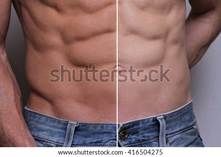 Man self tanning before and after results - stock photo