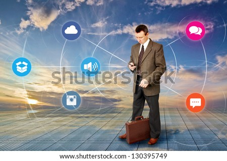 Man Sends An Information To Internet - stock photo