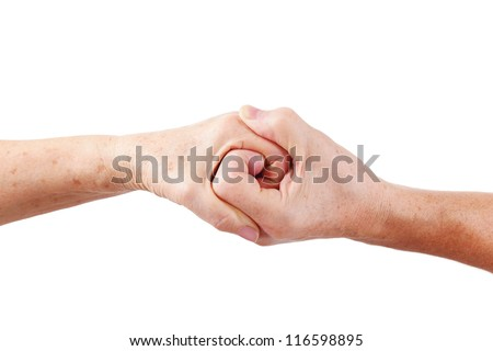 Man senior hand hold woman hand, isolated