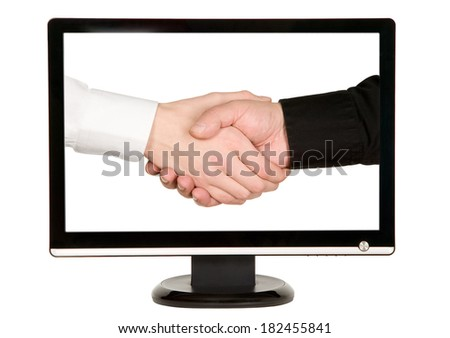 Man shakes hands with businessman on lcd monitor