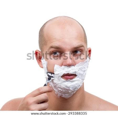 man shaving blades - stock photo